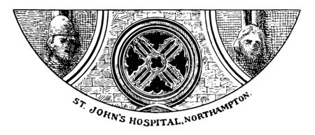 Northampton St. Johns Hospital,  middle window is the tracery, two faces on the side, the Newarke Gateway, vintage line drawing or engraving illustration.