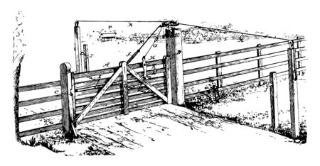 Wooden Locking Gate entry exit fence gateway opening Passage port yett vintage line drawing or engraving illustration