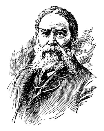 James Russel Lowell 1819 to 1891 he was an American romantic poet critic editor and diplomat vintage line drawing or engraving illustration