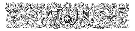 Pictorial Banner have two cherubs or torches and a shield vintage line drawing or engraving illustration.