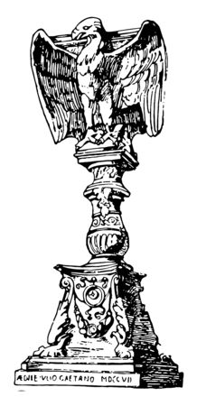 The shelf having cross in the centre with two angels sitting aside and picture of three angel faces below them vintage line drawing or engraving illustration.