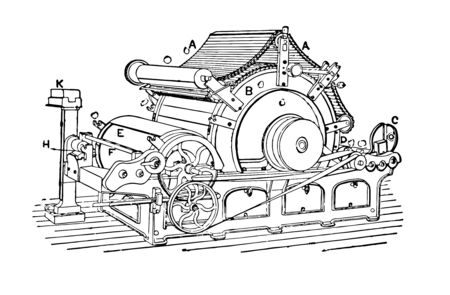 This illustration represents Manufacturing where raw materials are transformed into a final product vintage line drawing or engraving illustration.