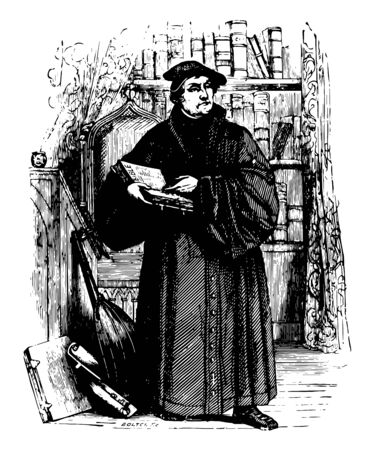 Martin Luther 1483 to 1546 he was a German professor of theology composer priest monk and a seminal figure in the protestant reformation vintage line drawing or engraving illustration Ilustração