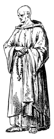 Cistercian Monk sometimes called the White Monks and is a Roman Catholic religious order of enclosed monks vintage line drawing or engraving illustration. Ilustração