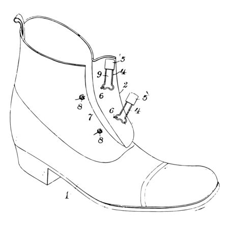 Fastening for Shoe made of leather or similar material with a rigid sole and heel vintage line drawing or engraving illustration.