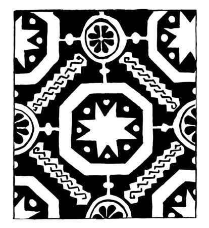13th Century Weave Design it is also a 14th century weaving design It consists of star and floral patterns that are connected vintage line drawing or engraving illustration.