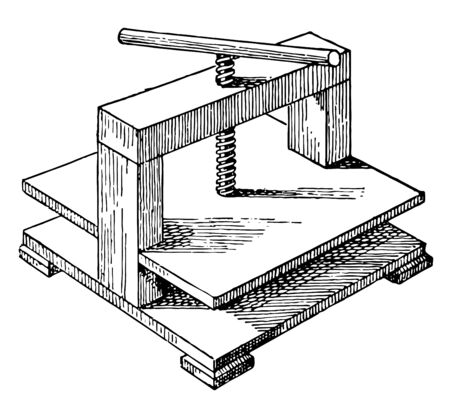 This illustration represents Screw Press which is a type of machine used to shape or cut metal vintage line drawing or engraving illustration.