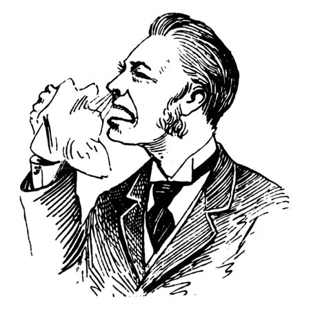 Sick Man Sneezing arte usually caused by foreign particles irritating the nasal mucus, vintage line drawing or engraving illustration.