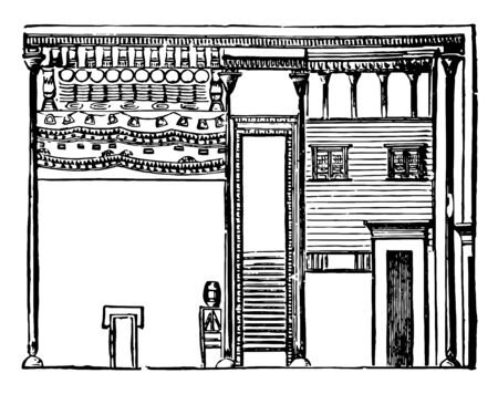 Egyptian Dwelling houses artisans husbandmen primitive patterns rude workmanship elaborately finished ornamented quaint devices vintage line drawing or engraving illustration. Stock fotó - 133083049
