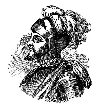 Vasco Nunez de Balboa c. 1475 to 1519 he was a Spanish explorer governor and conquistador who is most known for having crossed the Isthmus of panama to the pacific ocean in 1513 vintage line drawing or engraving illustration Ilustração