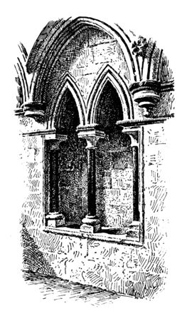 Piscina in Morning Chapel, Lincoln Cathedral, sanctuary, sacristy, celebration, vintage line drawing or engraving illustration. Illustration
