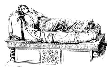 Tomb of Queen Louise Sculpture was made by Rauch vintage line drawing or engraving illustration.