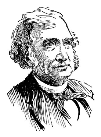 Justin Smith Morrill 1810 to 1898 he was a United States representative and senator from Vermont famous for the Morrill Land to Grant Colleges Act vintage line drawing or engraving illustration