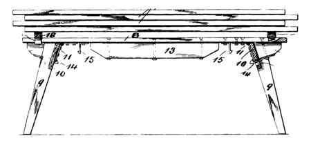 This illustration represents Painters Shutter Trestle which used for house painting is the extension vintage line drawing or engraving illustration.
