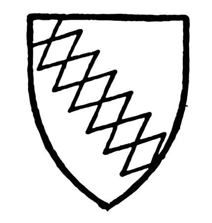 Ralegh bore Gules a bend indented or engrailed vintage line drawing or engraving illustration. Ilustração