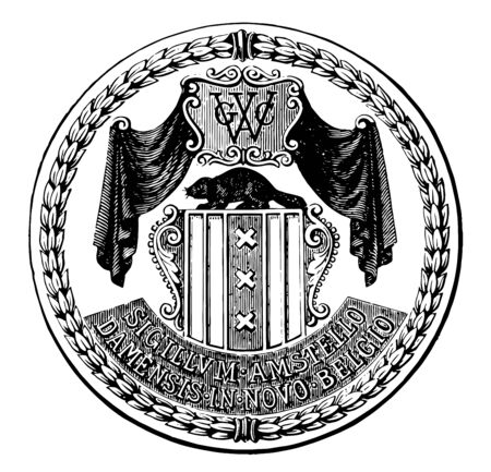 Seal of New Amsterdam it has shield shape in center on that one animal is sitting above that letter GWC and two curtains both the side vintage line drawing or engraving illustration Çizim