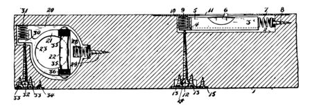 This illustration represents Construction Level which establishes the horizontal vintage line drawing or engraving illustration.