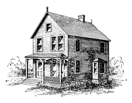 The image illustrates the two story building which has poticos porch and has many windows on front and side walls vintage line drawing or engraving illustration. Vecteurs