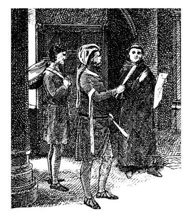 Juggler and Drummer Nursted Court is holding a manuscript for the music played, vintage line drawing or engraving illustration.