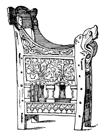 This 16th Century stoup also store holy to water and is found in in a chapel of a castle in Mello France vintage line drawing or engraving illustration.
