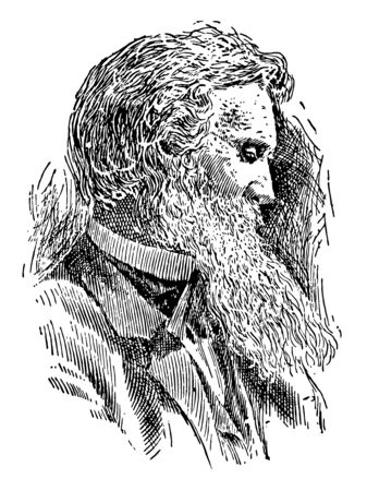 John Muir 1838 to 1914 he was a Scottish to American naturalist author philosopher glaciologist vintage line drawing or engraving illustration