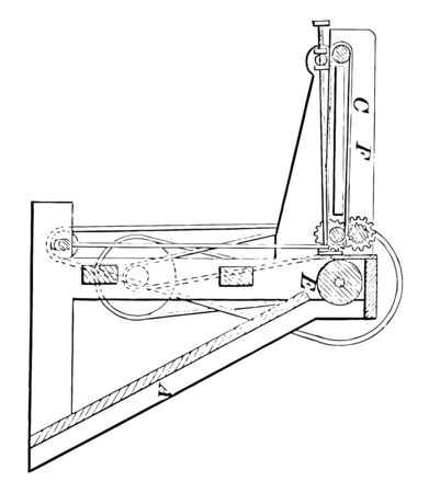 This illustration represents Printing Press Feeder which is used to facilitate the process of feeding paper into a printing press vintage line drawing or engraving illustration. Ilustrace