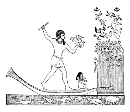 In this picture Egyptian man hunting bird with throw to sticks on Nile River vintage line drawing or engraving illustration.