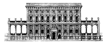 Façade of the Tursi to Doria Palace at Genoa the Genoese palaces not so great as in the Roman The purity of style vintage line drawing or engraving illustration. Illustration