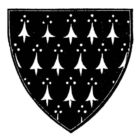 Ermine Shield with a field argent with the powdering sable vintage line drawing or engraving illustration.