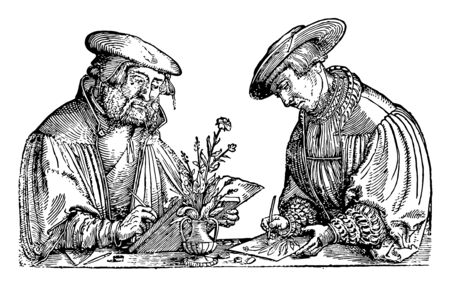 Two Men Drawing is included on horseback and on boat it is the paintings produced in prehistoric times were eventually stylized and simplified vintage line drawing or engraving illustration.