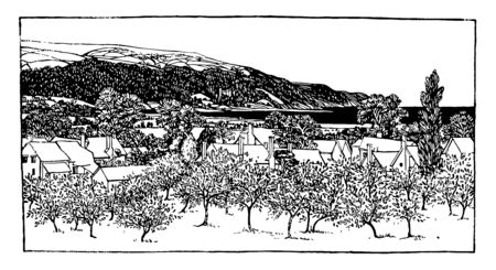 Porlock is a coastal village in Somerset it have most elderly population in Britain and it is the evidence for 10th or 11th century origin vintage line drawing or engraving illustration.