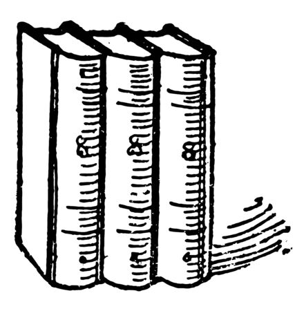 Three Books or stacked upright against each other counting number vintage line drawing or engraving illustration.
