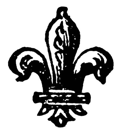 The Fleur to de to lis is a heraldic charge borne by the sixth eldest son in a family vintage line drawing or engraving illustration.