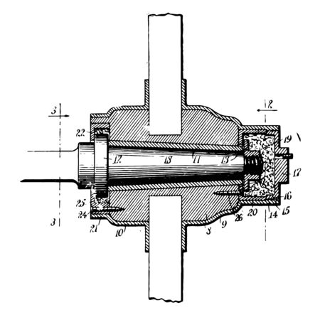 This illustration represents Wheel Hub which is located between the brake drums or discs and the drive axle vintage line drawing or engraving illustration.