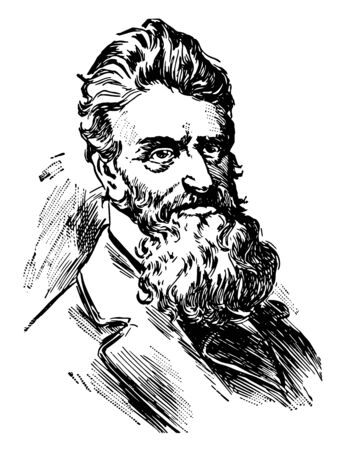 John Brown 1800 to 1859 he was an American abolitionist he led a raid on the federal armoury at Harpers Ferry to start a liberation movement in 1858 vintage line drawing or engraving illustration Standard-Bild - 133083009