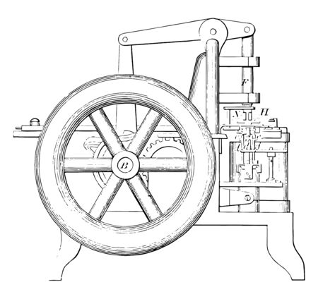 This illustration represents function of Chain Making Machine vintage line drawing or engraving illustration. Ilustrace