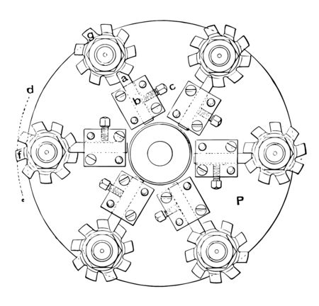 This illustration represents Relieving Milling Cutters Lathe where the circular blades used for milling, vintage line drawing or engraving illustration.