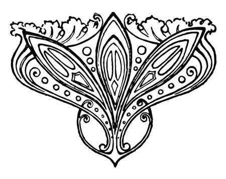 Ornate Stamp is a small and rosette flowers pattern vintage line drawing or engraving.