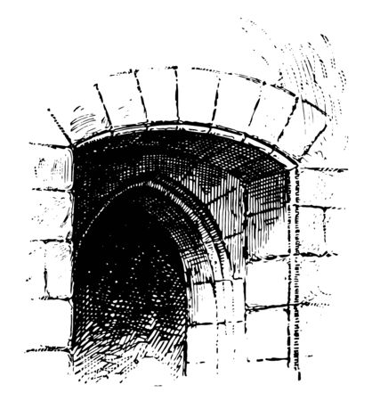 Arriere-voussure vault placed within  opening of window, increase,  size, aperture, door, opening, vintage line drawing or engraving illustration Stock Illustratie