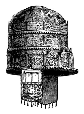 Abyssinian Crown worn by the ancient kings vintage line drawing or engraving illustration.
