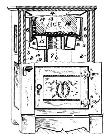 Early Model Refrigerator was home unit with a metal cabinet and cold compartment for Ice Cube at the top vintage line drawing or engraving illustration.