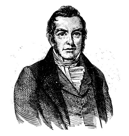 James Miller 1776 to 1851 he was the first governor of Arkansas territory and brigadier general in the United States army vintage line drawing or engraving illustration
