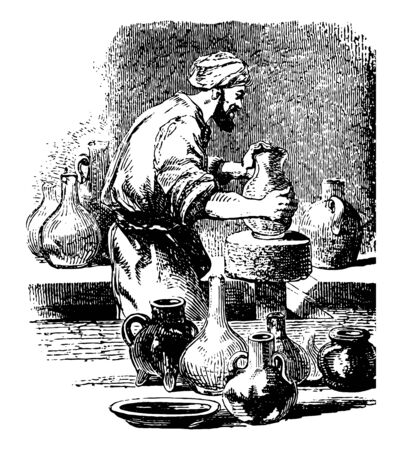 Potter is someone who makes pottery they are craft of making ceramic material into pots or potterywares using mud vintage line drawing or engraving illustration.