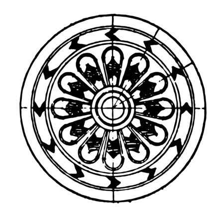Assyrian Ornament is a Rosette motive vintage line drawing or engraving illustration.