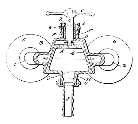 This illustration represents Water Distribution Valve which is regulate the flow of gases vintage line drawing or engraving illustration.