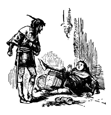 A man fell down on ground and another man looking at him in anger barrel on ground vintage line drawing or engraving illustration