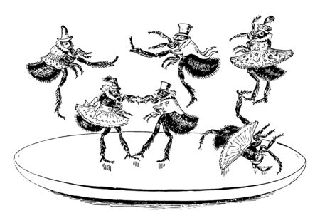Flea Dance this scene shows six fleas dancing on a platform two fleas are dancing together as a pair and other three fleas are flying off of the platform and one fallen down vintage line drawing or engraving illustration