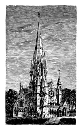 Memorial Church in Scotland have been constructed in various styles grace at the center of Harvard Yard community and beyond vintage line drawing or engraving illustration.