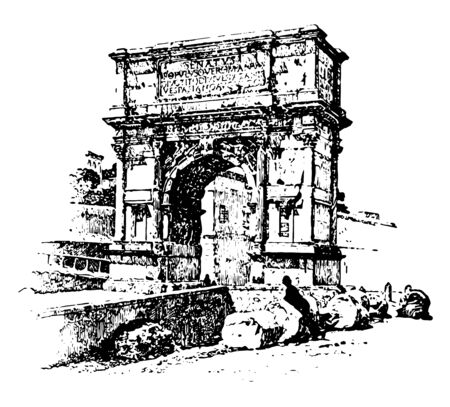 Arch of Titus, honorific arch,  located on the Via Sacra, the south-east of the Roman Forum, vintage line drawing or engraving illustration. Çizim