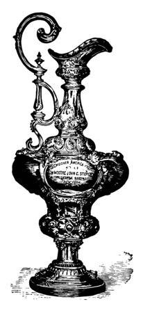 This image is look like a sports trophy. In this image it is an Americas Cup which is most prestigious vintage line drawing or engraving illustration.